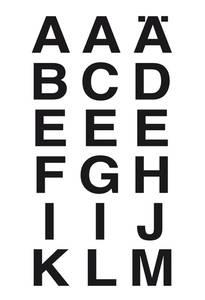 Bilde av VARIO bokstaver 20x20 mm, A-Z, svart/klar, 2 ark