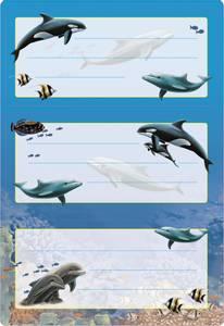 Bilde av VARIO boketiketter Delfiner med glitter, 2 ark