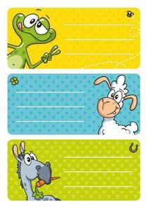 Bilde av VARIO boketiketter Kule dyr, 3 ark (10 pakk)
