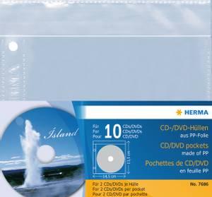 Bilde av CD/DVD plastlommer, 2 stk per lomme, 145x135 mm,